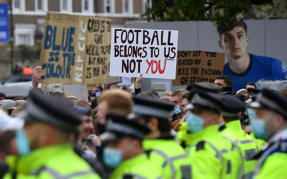 Football fans made their feelings on the breakaway clear - GETTY IMAGES