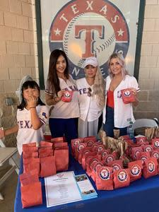 Abigail and Mia Choo, daughter and wife of Shin-Soo Choo, Johanny Santana, wife of Danny Santana, Ally Forsythe, wife of Logan Forsythe