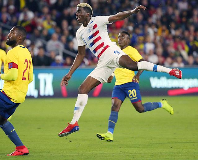"<a class=""link rapid-noclick-resp"" href=""/soccer/players/373517/"" data-ylk=""slk:Gyasi Zardes"">Gyasi Zardes</a> (9) scored a late game-winner for the United States in Thursday's friendly match against Ecuador. (Stephen M. Dowell/Getty)"