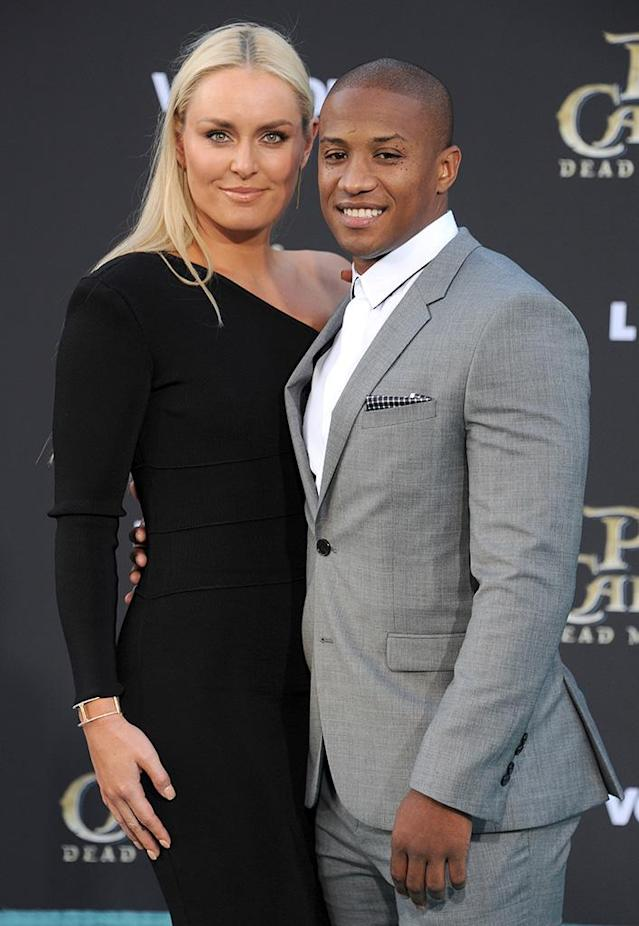 Lindsey Vonn and Kenan Smith strut their stuff at the premiere of <em>Pirates of the Caribbean: Dead Men Tell No Tales</em>. (Photo: Gregg DeGuire/WireImage)