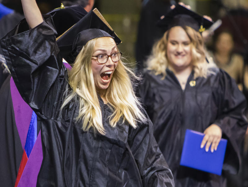 PORTLAND, ME - MAY 12: Sabrina Hahn of Germany celebrates after receiving her degree in Early Childhood Education during the Southern Maine Community College commencement at Cross Insurance Arena in Portland on Sunday, May 12, 2019. (Staff Photo by Carl D. Walsh/Portland Press Herald via Getty Images)