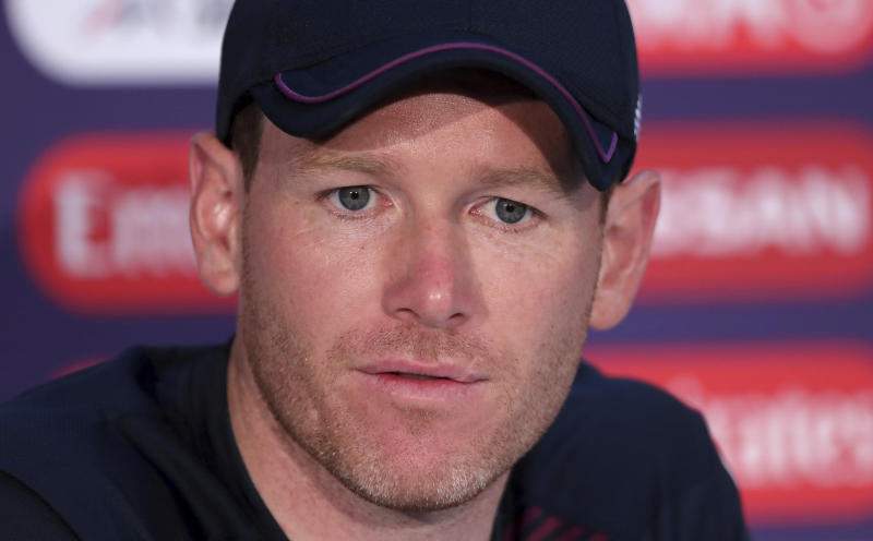 England's captain Eoin Morgan listens to a question during a press conference after attending a training session ahead of the Cricket World Cup final match against New Zealand at Lord's cricket ground in London, England, Saturday, July 13, 2019. (AP Photo/Aijaz Rahi)