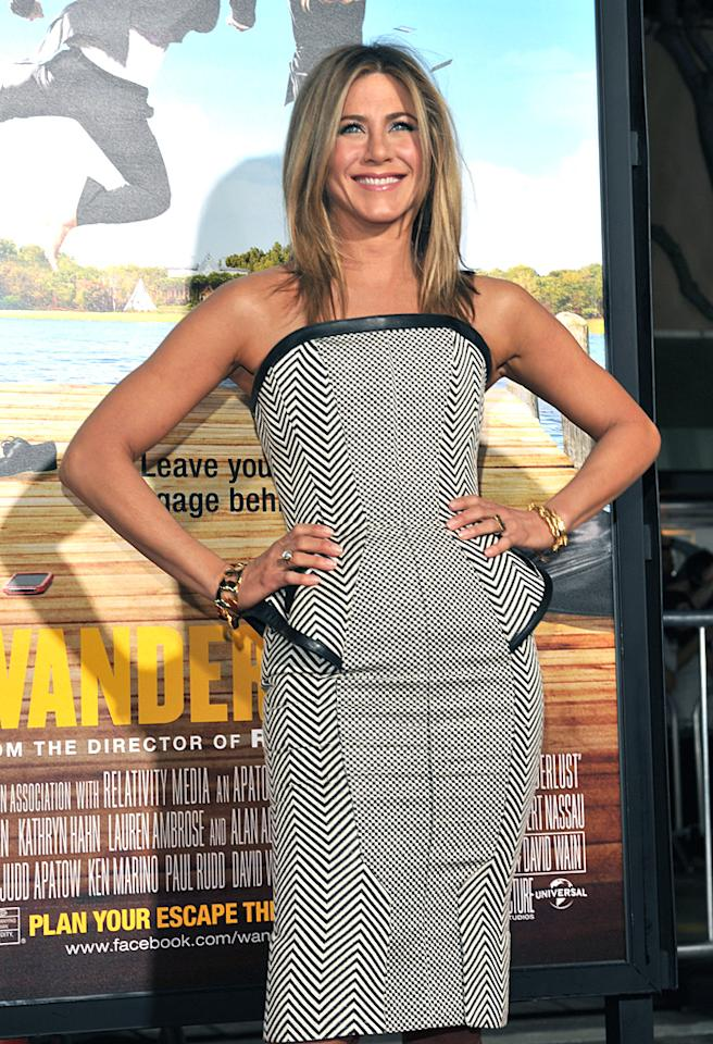 "WESTWOOD, CA - FEBRUARY 16:  Actress Jennifer Aniston arrives at the Los Angeles premiere of ""Wanderlust"" at Mann Village Theatre on February 16, 2012 in Westwood, California.  (Photo by Lester Cohen/WireImage)"