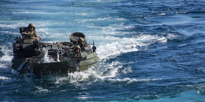 A photo showing an assault amphibious vehicle in the water during Exercise Iron Fist 2020. Not related to this story.