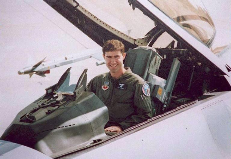 Undated photo shows USAF Captain Scott O'Grady in an F-16 similar to the one he was shot down in over Bosnia in 1995