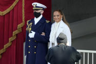 Jennifer Lopez arrives to perform during the 59th Presidential Inauguration at the U.S. Capitol in Washington, Wednesday, Jan. 20, 2021. (AP Photo/Andrew Harnik)