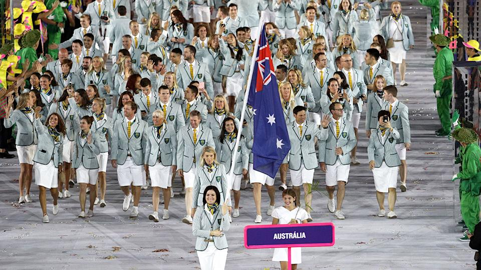 Pictured here, Australia's Olympic Games team at the Rio 2016 Opening Ceremony.