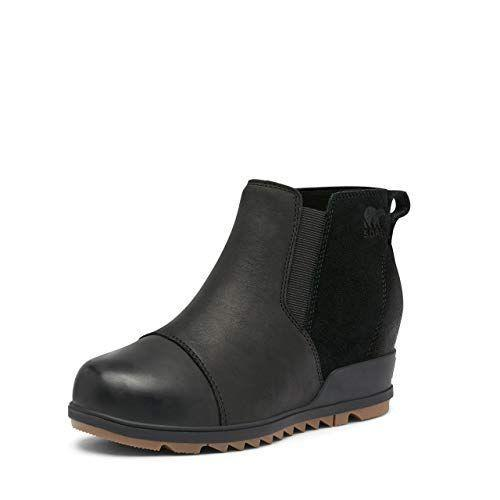"""<p><strong>Sorel</strong></p><p>amazon.com</p><p><strong>$85.00</strong></p><p><a href=""""https://www.amazon.com/dp/B08B7YDPPN?tag=syn-yahoo-20&ascsubtag=%5Bartid%7C10055.g.29091176%5Bsrc%7Cyahoo-us"""" rel=""""nofollow noopener"""" target=""""_blank"""" data-ylk=""""slk:Shop Now"""" class=""""link rapid-noclick-resp"""">Shop Now</a></p><p>If you don't think you can get away with wearing heels in the rain, think again: These low boots use <strong>waterproof leather and suede</strong><strong> with a molded rubber sole for traction, but have a two-and-a-half-inch wedge</strong> for added height. Users say they're surprisingly comfortable, have held up to wet weather, and look amazing with a variety of outfits.</p>"""