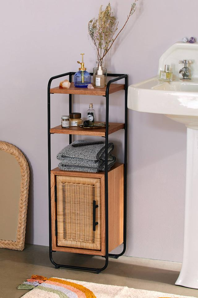"""<p>Spruce up your bathroom with this <a href=""""https://www.popsugar.com/buy/Mikko-Bathroom-Storage-Cabinet-486935?p_name=Mikko%20Bathroom%20Storage%20Cabinet&retailer=urbanoutfitters.com&pid=486935&price=199&evar1=casa%3Aus&evar9=46573444&evar98=https%3A%2F%2Fwww.popsugar.com%2Fphoto-gallery%2F46573444%2Fimage%2F46573479%2FMikko-Bathroom-Storage-Cabinet&list1=shopping%2Curban%20outfitters%2Cfurniture%2Csmall%20space%20living%2Chome%20shopping&prop13=api&pdata=1"""" rel=""""nofollow"""" data-shoppable-link=""""1"""" target=""""_blank"""" class=""""ga-track"""" data-ga-category=""""Related"""" data-ga-label=""""https://www.urbanoutfitters.com/shop/mikko-bathroom-storage-cabinet?category=furniture&amp;color=020&amp;type=REGULAR"""" data-ga-action=""""In-Line Links"""">Mikko Bathroom Storage Cabinet</a> ($199).</p>"""