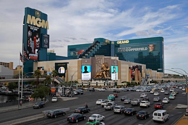 A view of the MGM Grand hotel and casino in Las Vegas. On Thursday, Yahoo Sportsbook powered by BetMGM will launch. (Mark J. Rebilas-USA TODAY Sports/Getty Images)