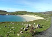 """<p>One might think that going to Scotland for turquoise water and white sand would be kind of like going to the Turks and Caicos for Scotch. But the islands known as the Outer Hebrides actually have some of the most spectacular beachfront scenery in the world. (Although, obviously, we'd recommend going in summer). The ride across the Isle of Harris on the 12-mile road is all rolling green hills capped off by a stretch of sand that'll have you thinking you're in the Caribbean. Right up until that first blast of cold Scottish air. (Photo: <a href=""""https://commons.wikimedia.org/wiki/File%3AHushinish_Bay_-_geograph.org.uk_-_93841.jpg"""" rel=""""nofollow noopener"""" target=""""_blank"""" data-ylk=""""slk:Wikipedia"""" class=""""link rapid-noclick-resp"""">Wikipedia</a>)</p>"""