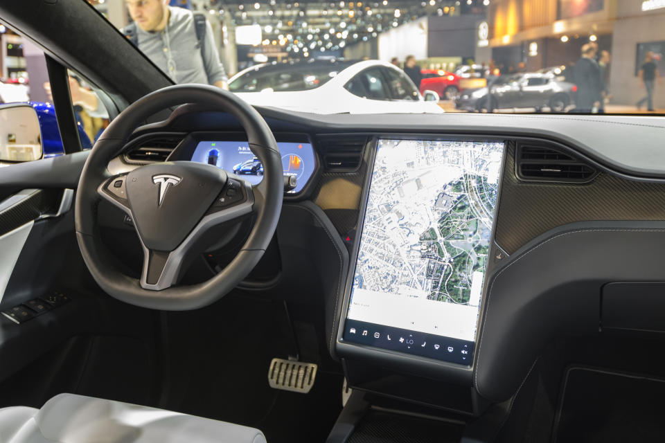 BRUSSELS, BELGIUM - JANUARY 9: Interior on a Tesla Model X full electric luxury crossover SUV car with a large touch screen and carbon look dashboard on display at Brussels Expo on January 9, 2020 in Brussels, Belgium. The Model X uses falcon wing doors for access to the second and third row seats. (Photo by Sjoerd van der Wal/Getty Images)