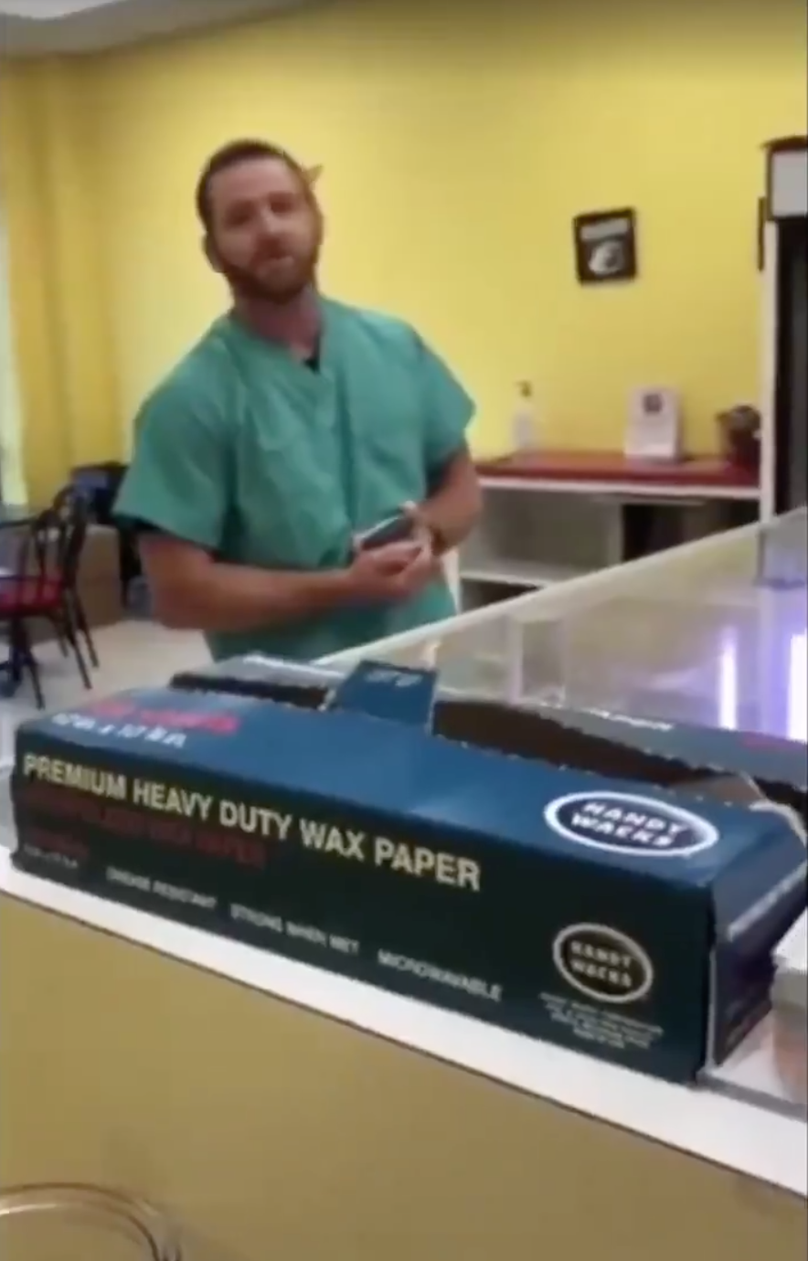 A viral video of a hospital employee at Mississippi Baptist Medical Center using the N-word to address a Donut Palace employee has resulted in his dismissal. (Screenshot: Twitter/Shaun King)