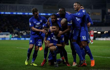 Soccer Football - Championship - Cardiff City vs Barnsley - Cardiff City Stadium, Cardiff, Britain - March 6, 2018 Cardiff City's Marko Grujic celebrates scoring their second goal with team mates Action Images/Peter Cziborra