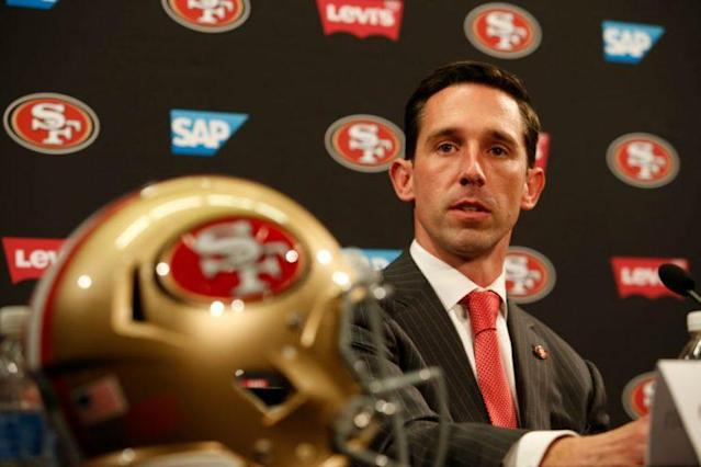 "Kyle Shanahan sounds enthusiastic about rookie running back <a class=""link rapid-noclick-resp"" href=""/ncaaf/players/252020/"" data-ylk=""slk:Joe Williams"">Joe Williams</a>. (Photo by Michael Zagaris/San Francisco 49ers/Getty Images)"