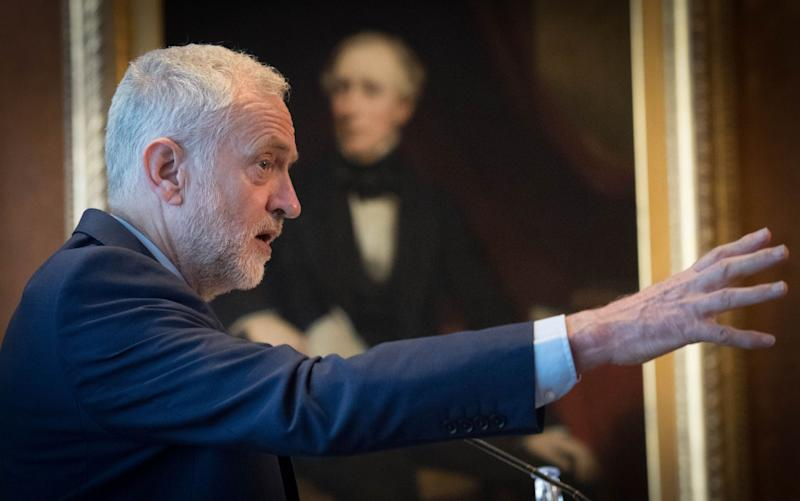 Jeremy Corbyn at the Federation of Small Businesses - Credit: PA