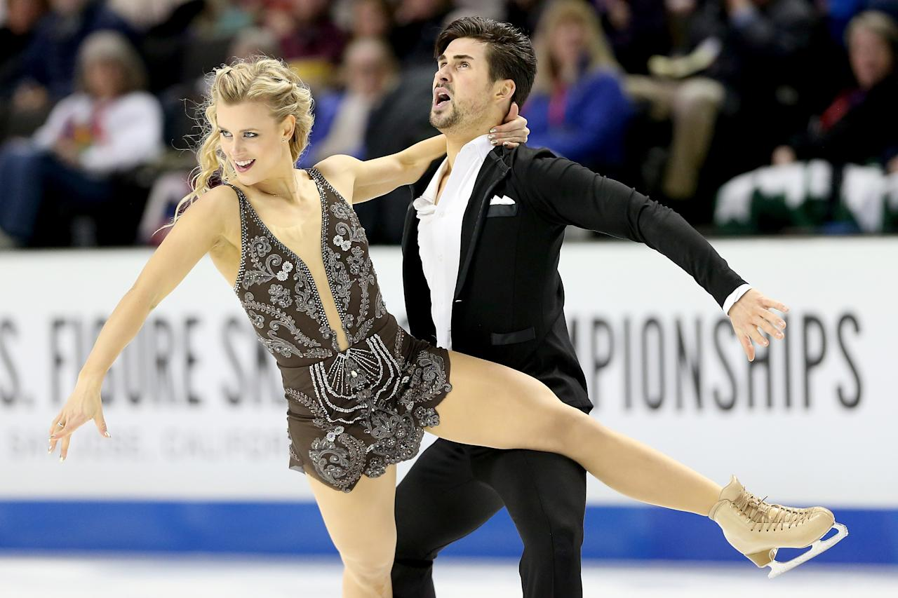 <p>Figure skating team Madison Hubbell and Zachary Donohue used to date, but rather than sacrifice their on-ice chemistry, the pair decided it would be best to maintain their skating partnership and move on from their personal relationship. Hubbell now dates Adria Diaz, a Spanish ice dater who competed in Sochi. Donohue, meanwhile now spends his time with Diaz's ice dancing partner, Olivia Smart. Talk about being cool with things! (Getty) </p>