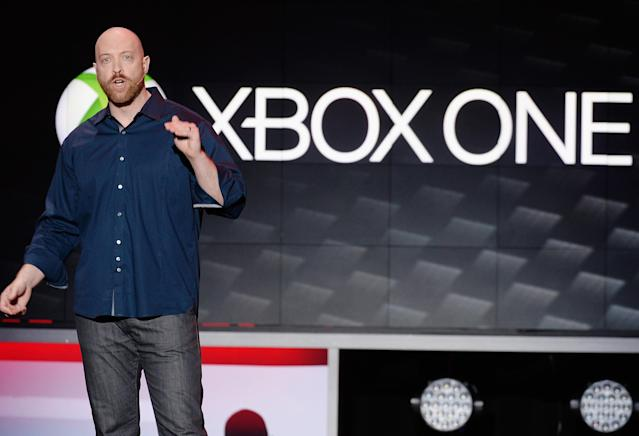 LOS ANGELES, CA - JUNE 10: Dan Greenawalt, developer of the video game Forza Motorsport speaks during Microsoft Xbox news conference at the Electronic Entertainment Expo at the Galen Center on June 10, 2013 in Los Angeles, California. Thousands are expected to attend the annual three-day convention to see the latest games and announcements from the gaming industry. (Photo by Kevork Djansezian/Getty Images)