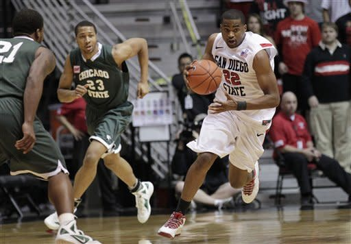 San Diego State guard Chase Tapley, right, dribbles as Chicago State's Aaron Williams (23) and Matt Samuels defend in the second half during an NCAA college basketball game Tuesday, Jan. 10, 2012, in San Diego. (AP Photo/Gregory Bull)