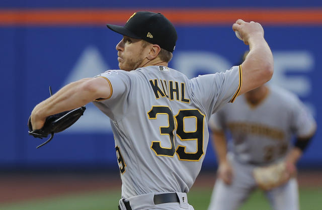 Pittsburgh Pirates starting pitcher Chad Kuhl delivers against the New York Mets during the first inning of a baseball game Tuesday, June 26, 2018, in New York. (AP Photo/Julie Jacobson)