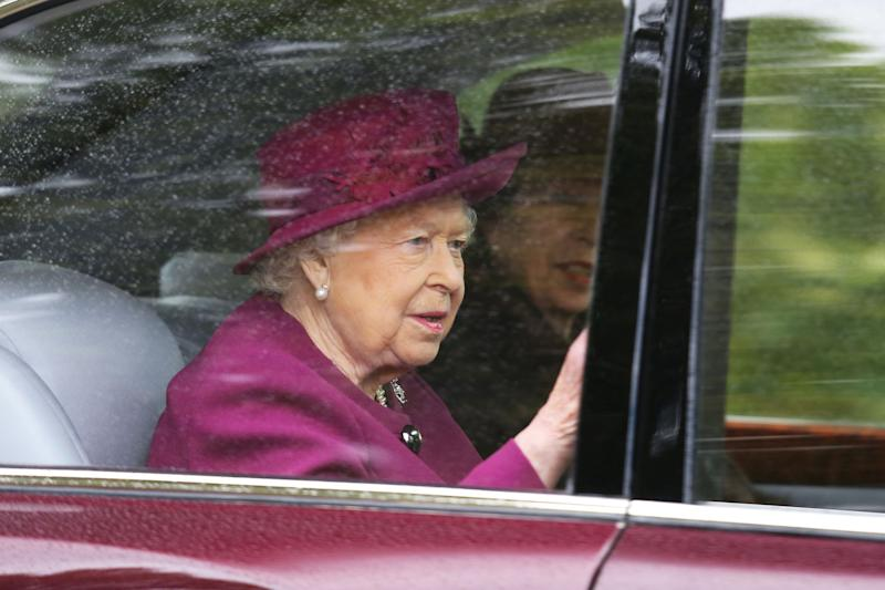 Queen Elizabeth, in Regal Purple, Joins Only Daughter Princess Anne for Church in Scotland