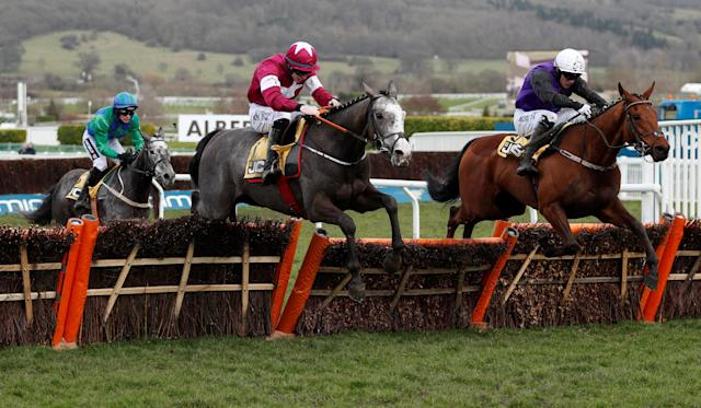Horse Racing - Cheltenham Festival - Cheltenham Racecourse, Cheltenham, Britain - March 16, 2018 Farclas ridden by Jack Kennedy in action before winning the 13.30 JCB Triumph Hurdle Action Images via Reuters/Andrew Boyers