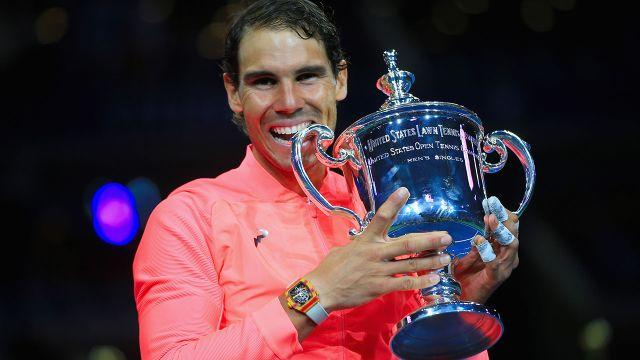 Nadal and his US Open prize. Image: Getty