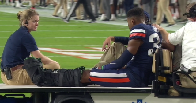 "<a class=""link rapid-noclick-resp"" href=""/ncaaf/players/268198/"" data-ylk=""slk:Bryce Hall"">Bryce Hall</a> was carted off after suffering a severe injury to his lower left leg on Saturday. (via ESPN)"