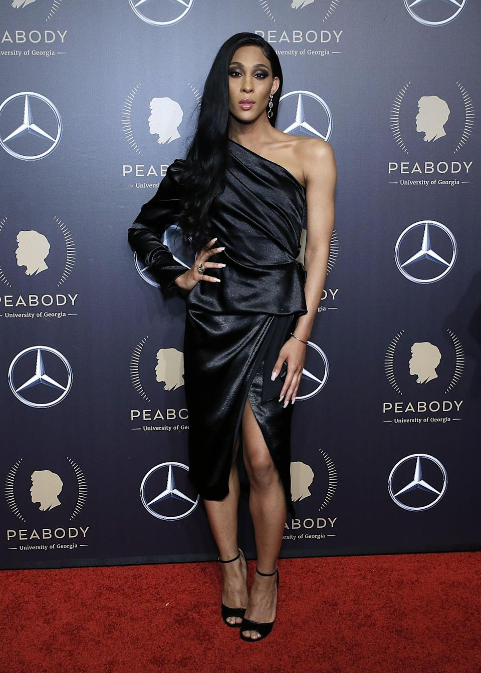 <p>Mj slipped into Givenchy sandals to go with this high-fashion look at the 78th annual Peabody Awards in New York City in 2019.</p>