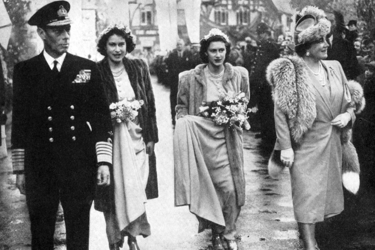<p>Princess Elizabeth, her parents, and her sister arriving at the wedding of Lady Patricia Mountbatten and Lord Brabourne.</p>