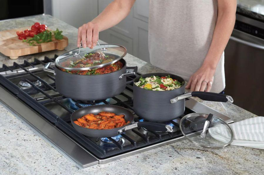 """This cookware set is budget-friendly and perfect for small spaces. FromCalphalon, the set includes two fry pans, two sauce pans and a Dutch oven. It's oven safe forup to 400 degrees.<a href=""""https://goto.target.com/c/2055067/81938/2092?u=https%3A%2F%2Fwww.target.com%2Fp%2Fselect-by-calphalon-8pc-hard-anodized-non-stick-cookware-set%2F-%2FA-50299639%23lnk%3Dsametab&subid1=5&subid2=primedaytargetdeals&subid3=primeday20"""" target=""""_blank"""" rel=""""noopener noreferrer"""">Originally $150, get the set now for $120 at Target</a>."""