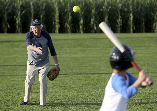 "Bernie Sanders showed off his skills at the ""Field of Dreams"" diamond. (Jessica Reilly/Telegraph Herald via AP)"