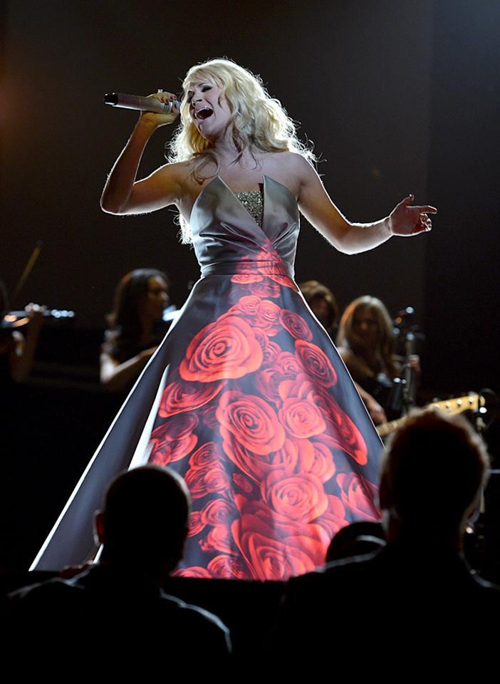 Carrie Underwood performs at the 55th Annual Grammy Awards at the Staples Center in Los Angeles, CA on February 10, 2013.