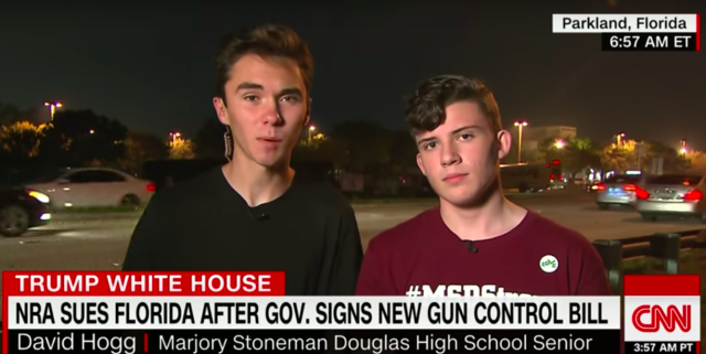 Parkland shooting survivors David Hoff (L) and Alfonso Calderon (R) speak with CNN on Monday.