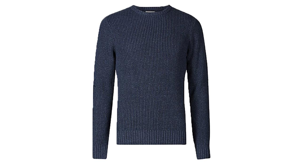 "<p><a rel=""nofollow"" href=""https://www.marksandspencer.com/pure-cotton-textured-jumper/p/p60172603?prevPage=plp&pdpredirect"">Marks & Spencer, £29.50.</a> </p>"