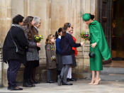 LONDON, ENGLAND - MARCH 09: Meghan, Duchess of Sussex departs after attending the Commonwealth Day Service 2020 at Westminster Abbey on March 09, 2020 in London, England. (Photo by Karwai Tang/WireImage)