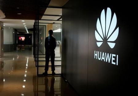 A Huawei company logo is seen at a shopping mall in Shanghai