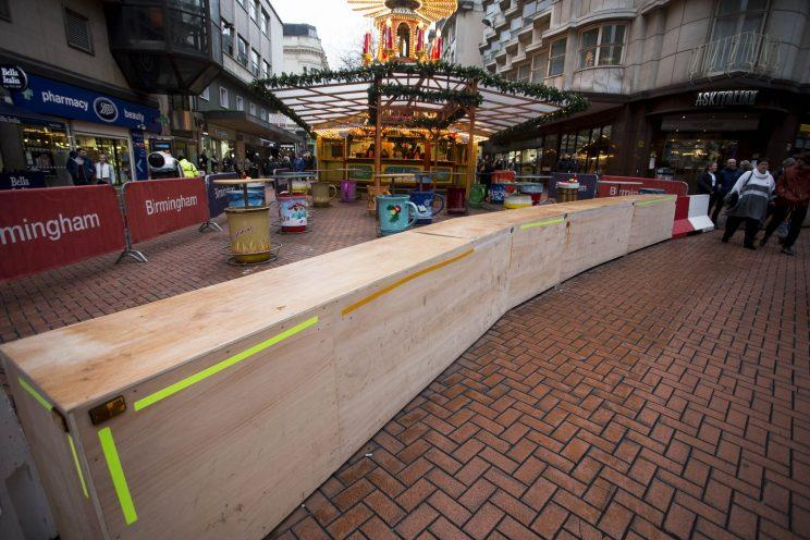 The barriers are there to prevent terror attacks, it has been reported (Picture: SWNS)