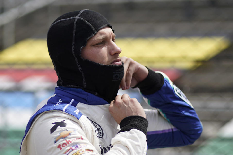 Sage Karam prepares to drive during practice for the Indianapolis 500 auto race at Indianapolis Motor Speedway, Friday, May 21, 2021, in Indianapolis. (AP Photo/Darron Cummings)