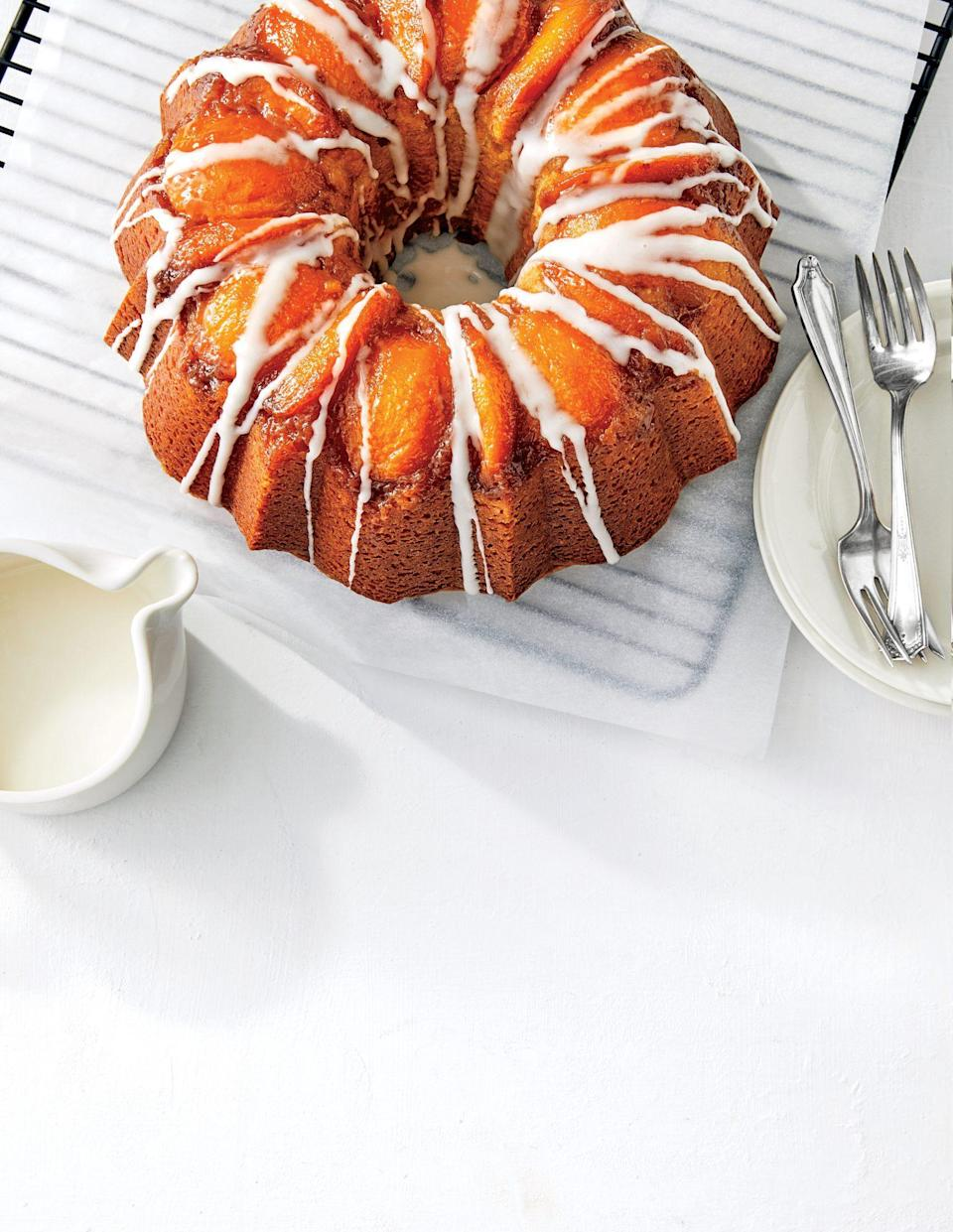 "<p><strong>Recipe: </strong><a href=""https://www.southernliving.com/recipes/peach-bourbon-upside-down-bundt-cake-recipe"" rel=""nofollow noopener"" target=""_blank"" data-ylk=""slk:Peach-Bourbon Upside-Down Cake"" class=""link rapid-noclick-resp""><strong>Peach-Bourbon Upside-Down Cake</strong></a></p> <p>This recipe from a few years ago saw a huge resurgence online this summer. The combination of peaches, bourbon, and brown sugar is just too good to turn down when the farmers' market is full of fresh peaches. ""Best cake ever! It will not disappoint you,"" said one reader.</p>"