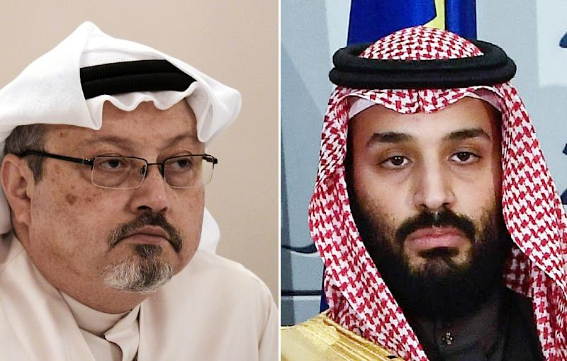 "UN special rapporteur Agnes Callamard has said there is ""credible evidence"" to warrant investigation into Saudi Crown Prince Mohammed bin Salman (right) over the murder of Jamal Khashoggi (left) (AFP Photo/MOHAMMED AL-SHAIKH, OSCAR DEL POZO)"