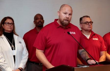 United Auto Workers (UAW) National Bargaining Committee Chair Ted Krumm addresses the media about the general strike against General Motors in Detroit,