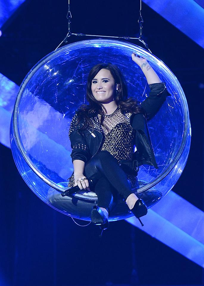 LOS ANGELES, CA - DECEMBER 16: Singer Demi Lovato performs onstage at 'VH1 Divas' 2012 held at The Shrine Auditorium on December 16, 2012 in Los Angeles, California. (Photo by Jason Merritt/WireImage)