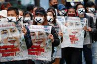Demonstrators protest against the military coup in Myanmar, in Tokyo
