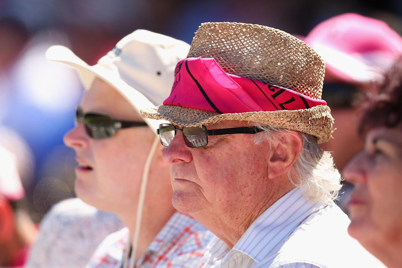 SYDNEY, AUSTRALIA - JANUARY 05:  Fans wear pink on Jane McGrath Pink Day during day three of the Third Test match between Australia and Sri Lanka at Sydney Cricket Ground on January 5, 2013 in Sydney, Australia.  (Photo by Cameron Spencer/Getty Images)