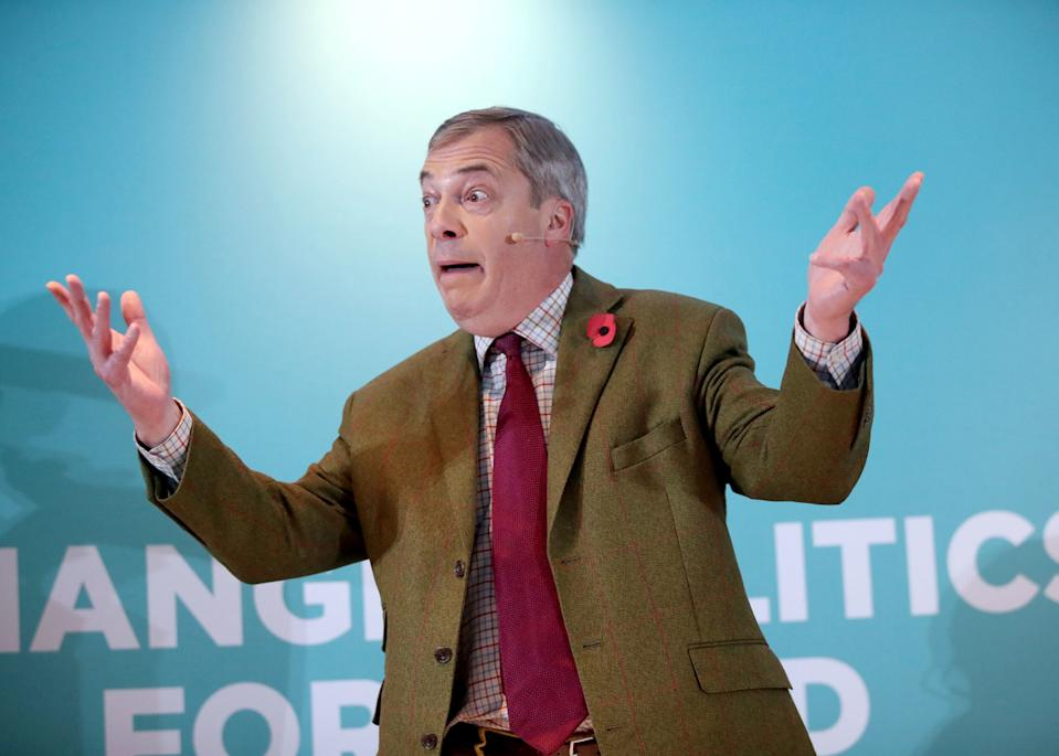 PA Review of the General Election 2019 06/11/19 Brexit Party leader Nigel Farage addresses supporters at the Washington Central Hotel in Workington.
