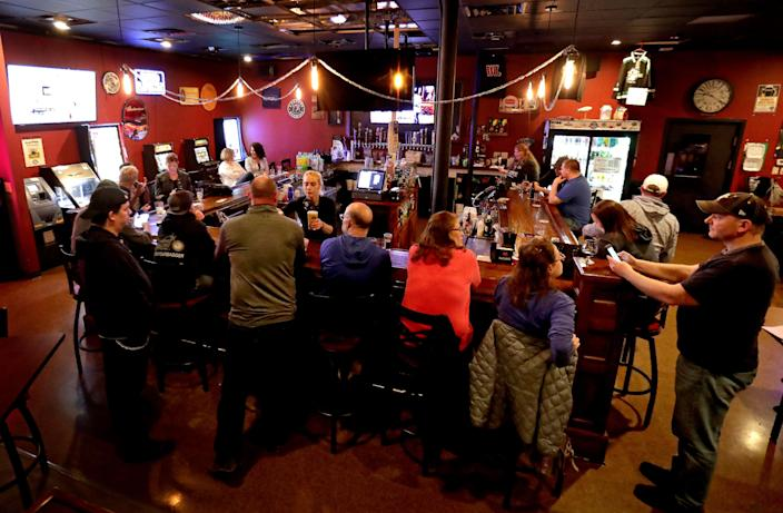 The Dairyland Brew Pub opens to patrons on May 13, 2020, in Appleton, Wis.