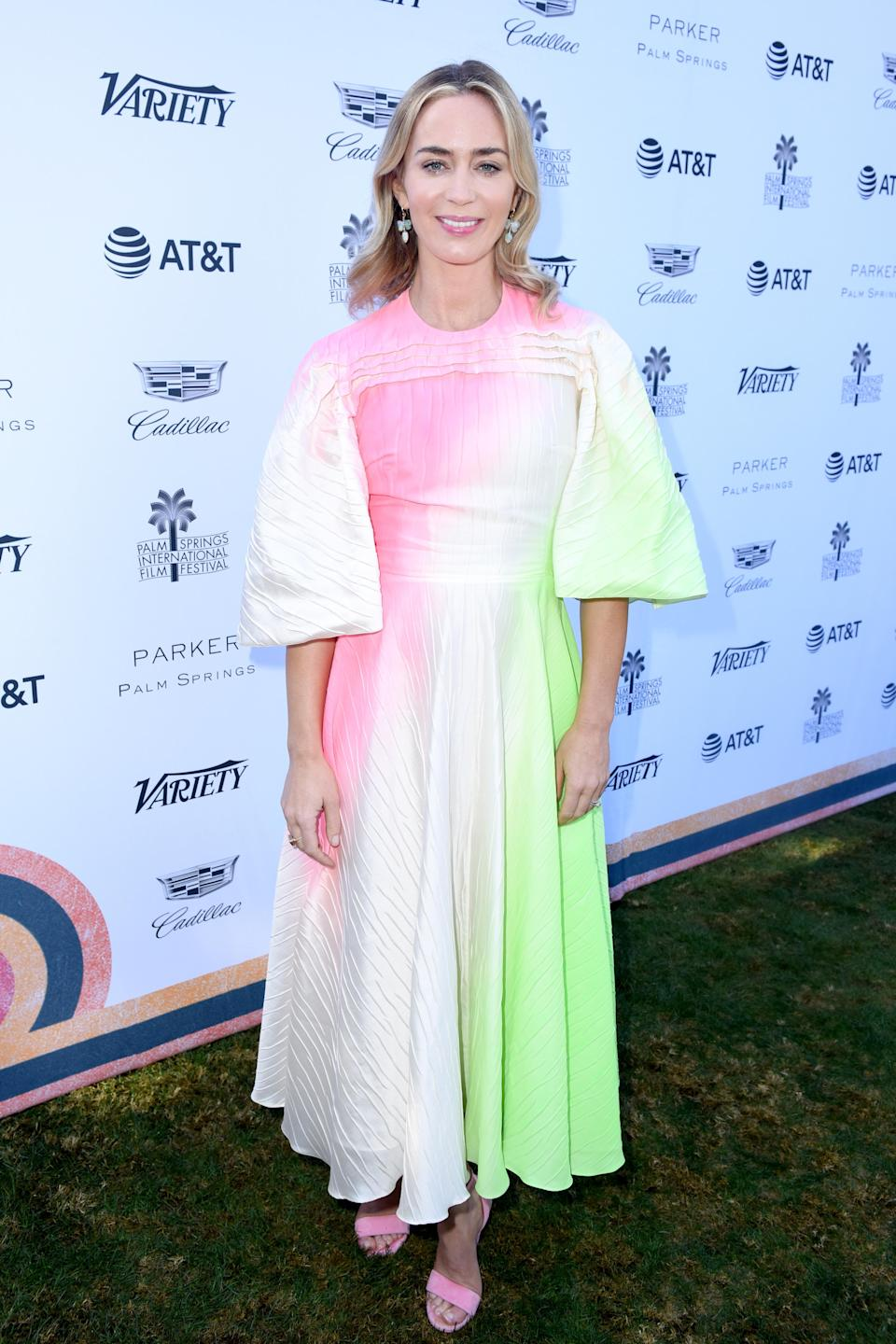 <p>We may only be a week into January but Emily Blunt has already secured her spot as our go-to style muse. On January 4, the actress wore her greatest look of 2019 so far in a colour-popping Roksanda dress. <em>[Photo: Getty]</em> </p>