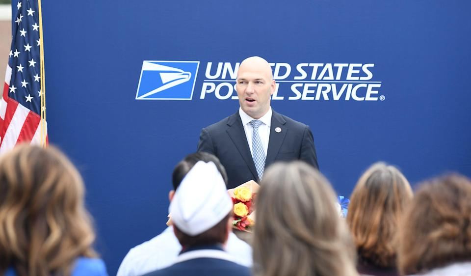 """Congressman Anthony Gonzalez participates in a U.S. Post Office dedication cememony to rename Lance Corporal Stacy """"Annie"""" Dryden North Canton Post Office in honor of the 2004 GlenOak graduate who died in 2008 while serving in Iraq. Wednesday,  September 15,  2021."""
