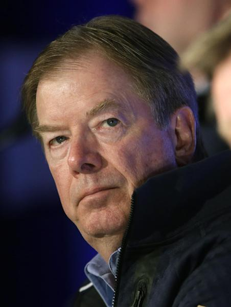U.S. Olympic Committee Chairman Larry Probst listens during a news conference Tuesday, Oct. 1, 2013, in Park City, Utah. (AP Photo/Rick Bowmer)